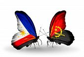Two Butterflies With Flags On Wings As Symbol Of Relations Philippines And Angola