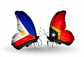 Two Butterflies With Flags On Wings As Symbol Of Relations Philippines And East Timor