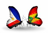 Two Butterflies With Flags On Wings As Symbol Of Relations Philippines And Grenada