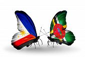Two Butterflies With Flags On Wings As Symbol Of Relations Philippines And Dominica