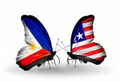 Two Butterflies With Flags On Wings As Symbol Of Relations Philippines And Liberia