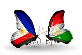 Two Butterflies With Flags On Wings As Symbol Of Relations Philippines And Tajikistan