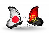 Two Butterflies With Flags On Wings As Symbol Of Relations Japan And  Angola