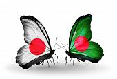 Two Butterflies With Flags On Wings As Symbol Of Relations Japan And Bangladesh