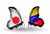Two Butterflies With Flags On Wings As Symbol Of Relations Japan And  Venezuela
