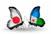 Two Butterflies With Flags On Wings As Symbol Of Relations Japan And Djibouti