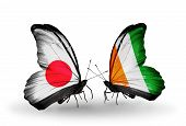 Two Butterflies With Flags On Wings As Symbol Of Relations Japan And Cote Divoire