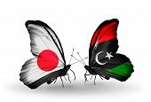 Two Butterflies With Flags On Wings As Symbol Of Relations Japan And Libya