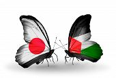 Two Butterflies With Flags On Wings As Symbol Of Relations Japan And Palestine