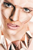 Angry Woman With Geometrical Bodyart On Face