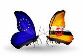Two Butterflies With Flags On Wings As Symbol Of Relations Eu And Brunei