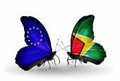 Two Butterflies With Flags On Wings As Symbol Of Relations Eu And Guyana
