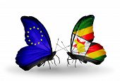 Two Butterflies With Flags On Wings As Symbol Of Relations Eu And  Zimbabwe