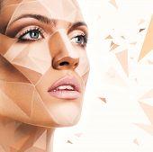 Sensual Woman With Bodyart And Geometric Pattern