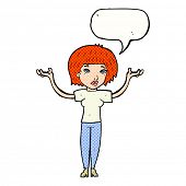 cartoon ginger woman with speech bubble