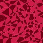 Abstract mosaic pattern with triangles. Seamless vector. Stylized texture with pink and red triangle