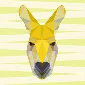 Yellow Colored Abstract Geometric Polygonal Kangaroo Background