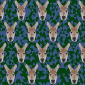 Polygonal Geometric Triangle Abstract Kangaroo Seamless Pattern