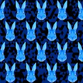 Blue Colored Polygonal Geometric Abstract Rabbit Seamless Pattern Vector Background