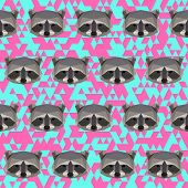 Polygonal Geometric Triangle Abstract Raccoon Seamless Pattern