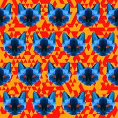 Polygonal Geometric Abstract  Siamese Cat Seamless Pattern Background