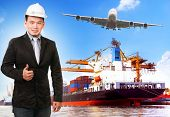 stock photo of ship  - business man and comercial ship with container on port freight cargo plane flying above use for import export and shipping logistic industry service - JPG