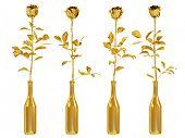Gold roses set isolated on white background.