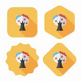 Apple Tree Flat Icon With Long Shadow,eps10