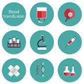 Set of flat blood transfusion icons