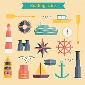 Set of flat boating icons