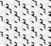stock photo of trapezoid  - Black and white geometric seamless pattern with triangle and trapezoid abstract background vector EPS10 - JPG