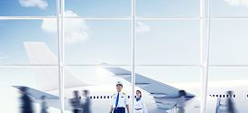 image of cabin crew  - Airport Travel Cabin Crew Trip Transportation Airplane Concept - JPG