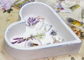stock photo of decoupage  - Process of manufacture beauty tray in style a decoupage - JPG