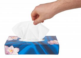 pic of tissue box  - Tissue box with hand isolated on a white background - JPG