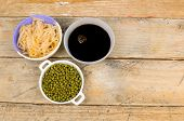 pic of bean sprouts  - Soy beans sprouts and sauce Asian cuisine ingredients - JPG