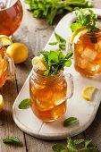 foto of iced-tea  - Homemade Iced Tea and Lemonade with Mint - JPG
