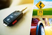 stock photo of driving  - Car Drive Conceptual Collage Made From Three Photos - JPG