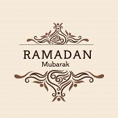 picture of ramadan mubarak card  - Elegant greeting or invitation card decorated with floral design for Muslim community festival - JPG