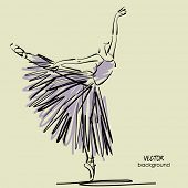 stock photo of tutu  - art sketched beautiful young ballerina with long tutu in pose of dance - JPG