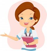 stock photo of presenting  - Illustration of a Girl Student holding a book while presenting something - JPG