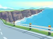 pic of long winding road  - Illustration of a Long Stretch of Winding Road by the Sea - JPG