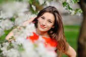 picture of nearly nude  - Portrait of pretty girl near the blossomed tree in the park - JPG