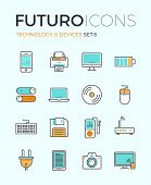 stock photo of peripherals  - Line icons with flat design elements of personal electronics and multimedia devices consumer technology object home and office appliances - JPG