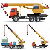 pic of lift truck  - Construction Machines Set 5 including crane and truck isolated on white background - JPG