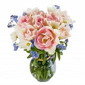 pic of forget me not  - Bouquet of flowers in a vase tulips and forget - JPG