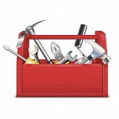 picture of overhauling  - Red toolbox with different tools isolated on white background - JPG