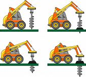 picture of heavy equipment  - Detailed illustration of car with a drilling rig - JPG