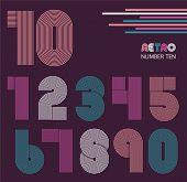 image of funky  - Retro stripes funky numbers settrendy elegant retro style design - JPG