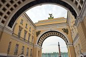 picture of winter palace  - View of Winter Palace from under arches St Petersburg Russia - JPG
