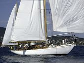 stock photo of radha  - classic marconi rigged sailing yacht radha catching a breeze
